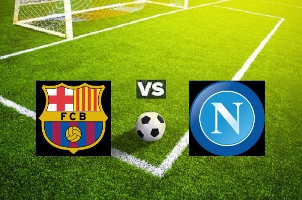 na zdjęcu zapowiedź meczu barclona - Napoli.